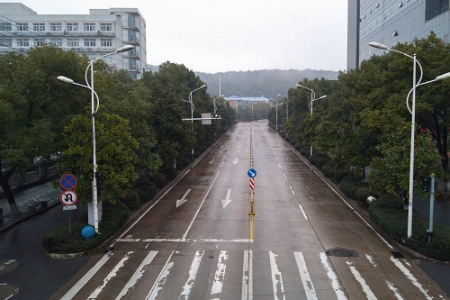 Une rue de Wuhan